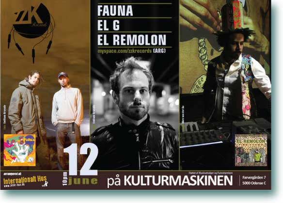 Poster Design for ZZK Records artists performing at Kulturmaskinen (Odense, Denmark): Fauna - El Remolon - El G