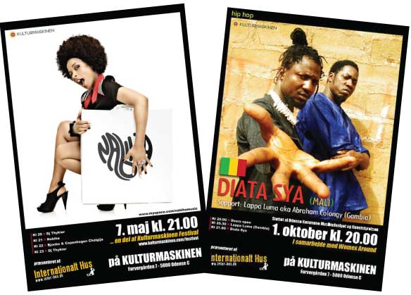Poster design and organizer for Nabiha and Diata Sya (Bamako - Mali)´s performance at Kulturmaskinen in Odense (Brasil